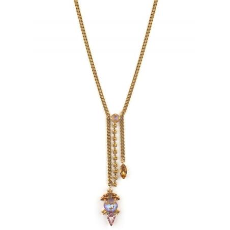 Collier mi-long arty cristal | Vieux rose