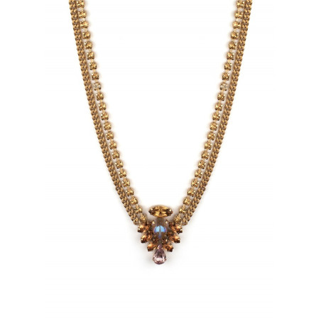 Poetic crystal mid-length necklace | Antique pink