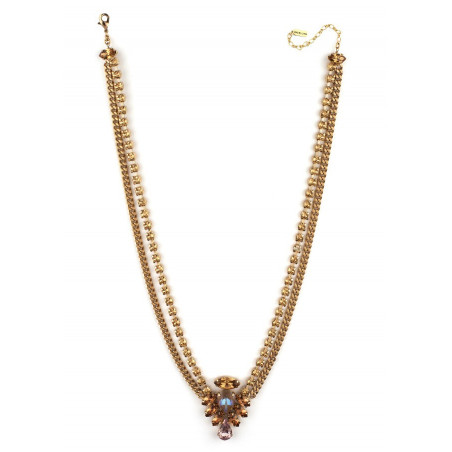 Poetic crystal mid-length necklace | Antique pink71824