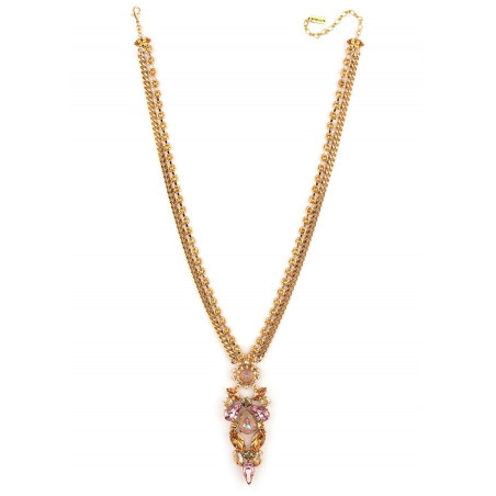 Refined crystal mid-length necklace | Antique pink71832