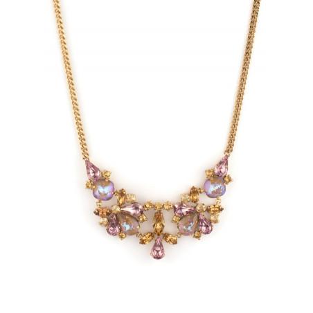 Collier mi-long élégant cristaux | Vieux rose