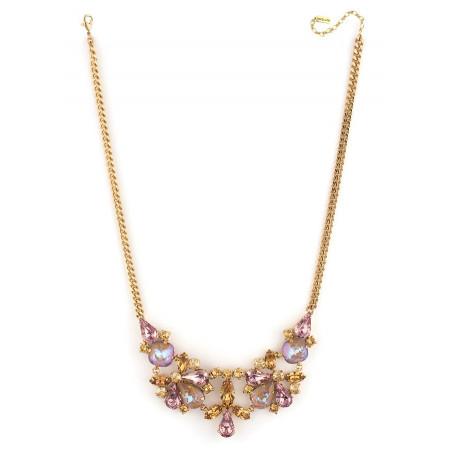 Collier mi-long élégant cristaux | Vieux rose71840