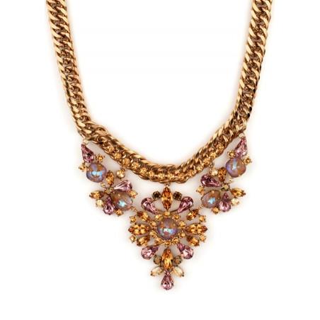 Collier mi-long précieux strass et cristaux | Vieux rose