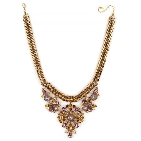 Collier mi-long précieux strass et cristaux | Vieux rose71848