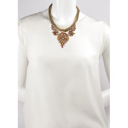 Collier mi-long précieux strass et cristaux | Vieux rose71849