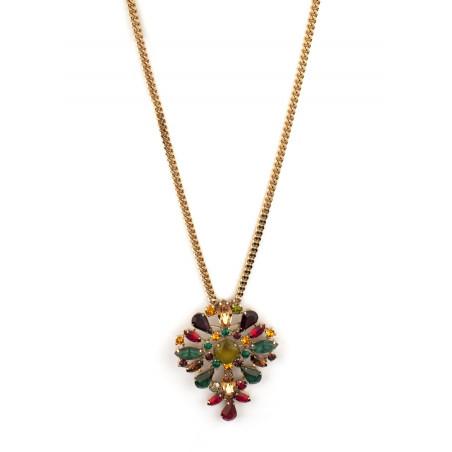 Collier sautoir festif strass et cristaux   Multicolore