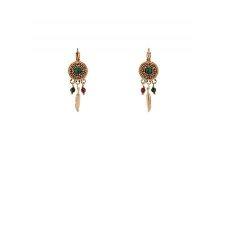 Bohemian malachite sleeper earrings l green
