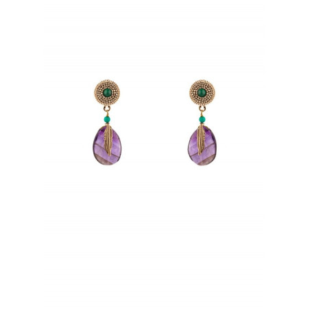 Ethnic amethyst and feather clip earrings l mauve