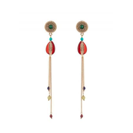 Boucles d'oreilles percées aériennes cornaline | rouge