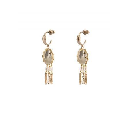 Boucles d'oreilles percées raffinées nacre blanche | perle