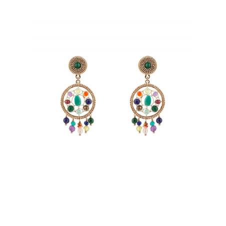 Boucles d'oreilles clips bohèmes malachite et améthyste | multicolore