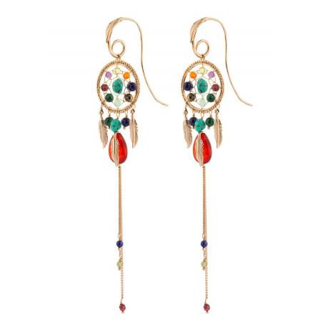 Boucles d'oreilles percées longues grenat et cornaline | multicolore