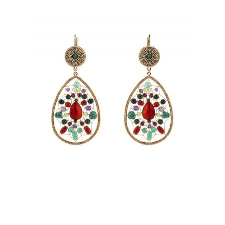 Boucles d'oreilles dormeuses glamour malachite et grenat   multicolore