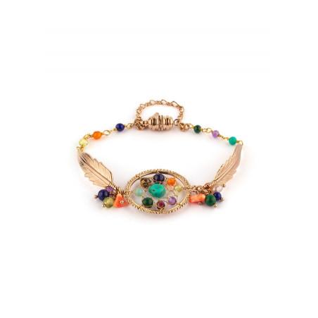 Medium bohemian malachite and turquoise bracelet | multicoloured
