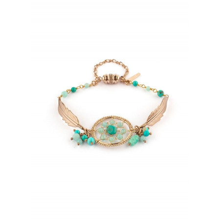 Bracelet gipsy small amazonite et jaspe   turquoise