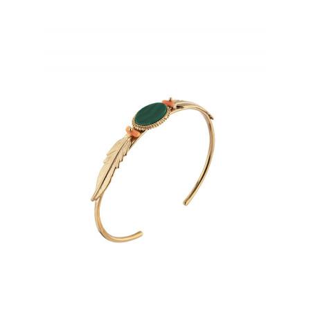 Bracelet jonc élégant plumes et pierre façon malachite | vert
