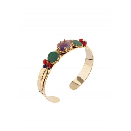 Bracelet jonc fantaisie lapis lazuli et améthyste | multicolore