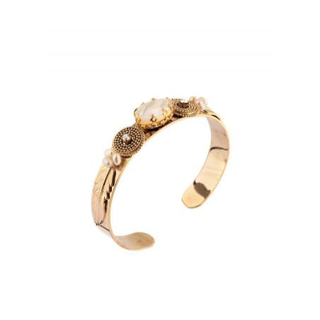 Bracelet jonc glamour cristal et nacre blanche   perle