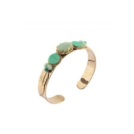 Bracelet jonc bohème jaspe et amazonite | turquoise