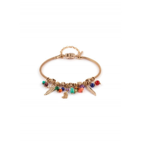 Small ethnic turquoise carnelian and garnet bracelet l multicoloured