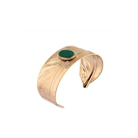 Manchette fine élégante plume et pierre façon malachite | vert