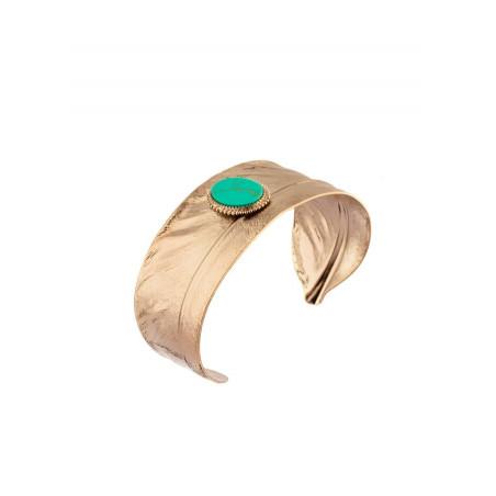 Manchette fine mode plume et pierre façon turquoise | turquoise