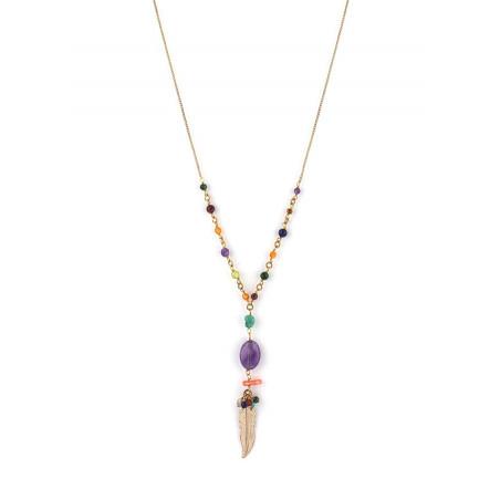 Collier mi-long bohème-chic plume et améthyste | multicolore