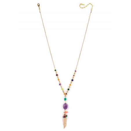 Collier mi-long bohème-chic plume et améthyste | multicolore73139