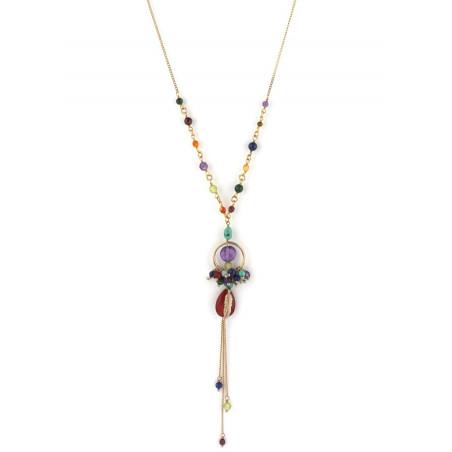 Collier mi-long fantaisie amazonite et améthyste | multicolore