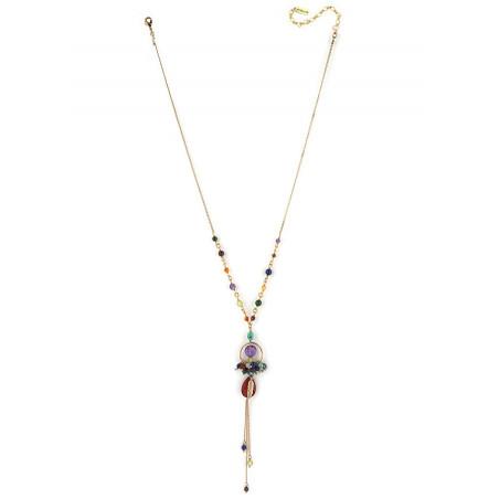 Collier mi-long fantaisie amazonite et améthyste | multicolore73148