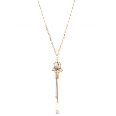 Collier mi-long bohème nacre blanche et perles de rivière | perle