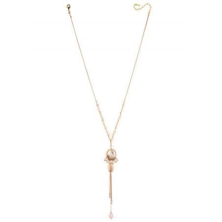 Collier mi-long bohème nacre blanche et perles de rivière | perle73151