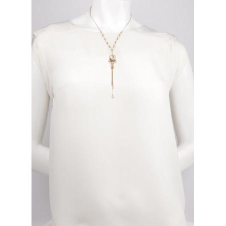 Collier mi-long bohème nacre blanche et perles de rivière | perle73152