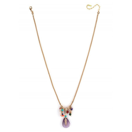 Collier pendentif fantaisie plume et améthyste | multicolore73157
