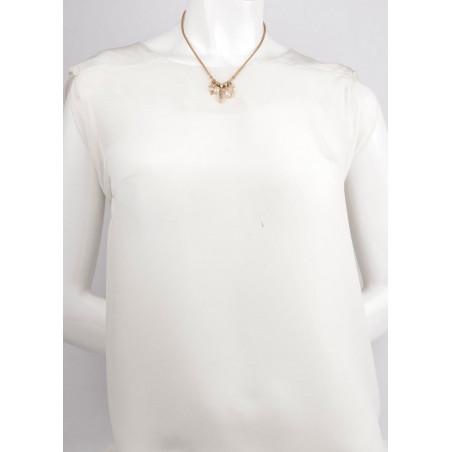 Collier pendentif raffiné nacre blanche perle de rivière   perle73161