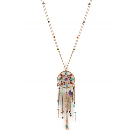 Poetic amethyst and amazonite sautoir necklace | multicoloured