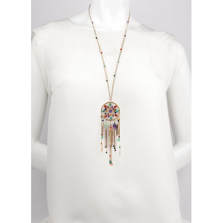 Poetic amethyst and amazonite sautoir necklace | multicoloured73176