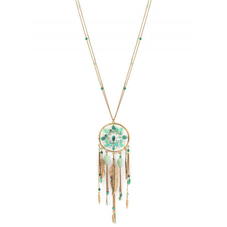 Collier sautoir glamour turquoise et amazonite   turquoise