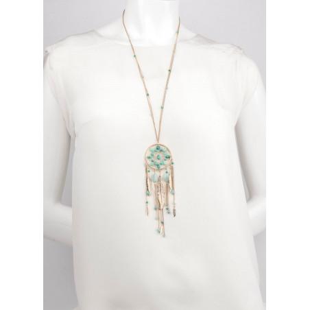 Collier sautoir glamour turquoise et amazonite   turquoise73182