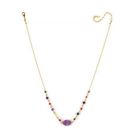 Collier pendentif féminin cornaline grenat et améthyste | mauve73184