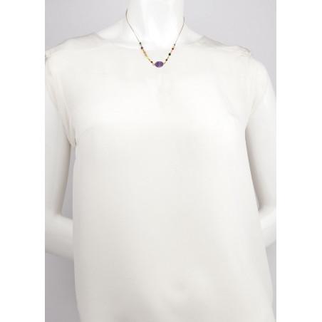 Collier pendentif féminin cornaline grenat et améthyste | mauve73185
