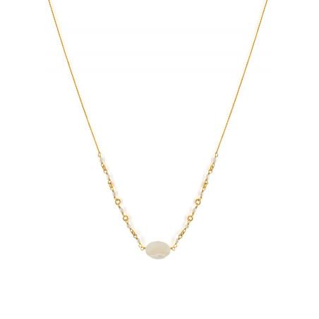 Collier pendentif poétique perles de rivière et nacre blanche   nacre