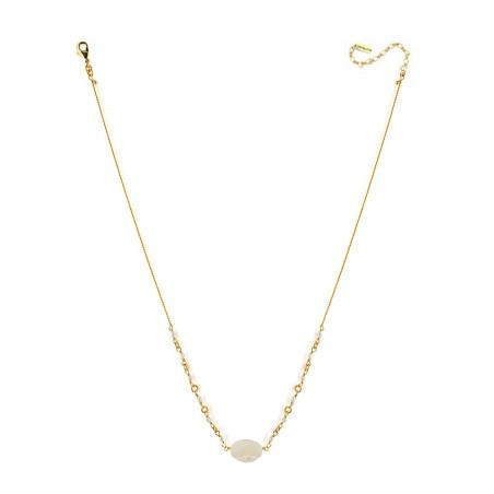 Collier pendentif poétique perles de rivière et nacre blanche   nacre73187