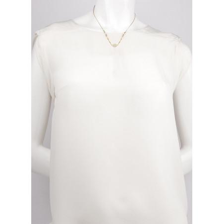 Collier pendentif poétique perles de rivière et nacre blanche   nacre73188
