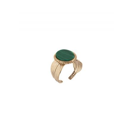 Glamorous feather malachite-style gem adjustable ring | green