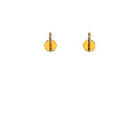 Boucles d'oreilles dormeuses solaires plumes   jaune