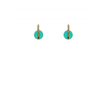 Boucles d'oreilles dormeuses bohèmes plumes   turquoise