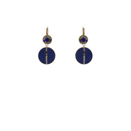 Chic feather lapis lazuli sleeper earrings l blue