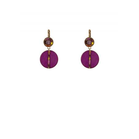 Poetic feather amethyst sleeper earrings | pink