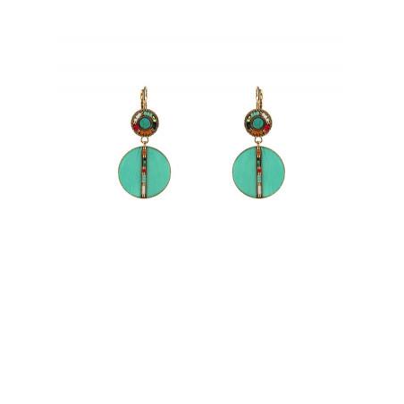 Turquoise feathers sleeper earrings | turquoise